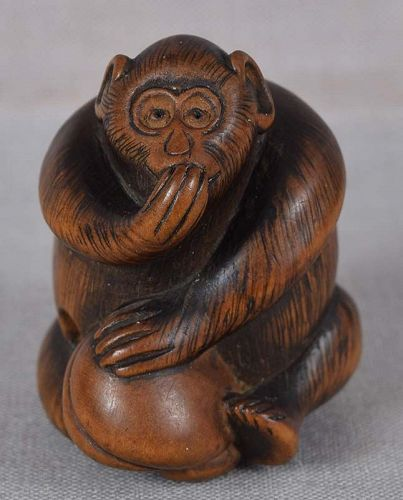 19c netsuke MONKEY with peach from FHC collection of 1923