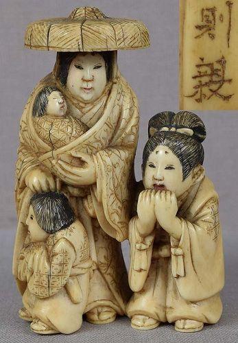 19c netsuke Lady TOKIWA with children by NORICHIKA
