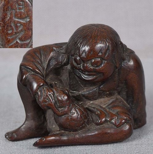 19c netsuke GAMA SENNIN with toad by KYOKKO ex Royal Collection