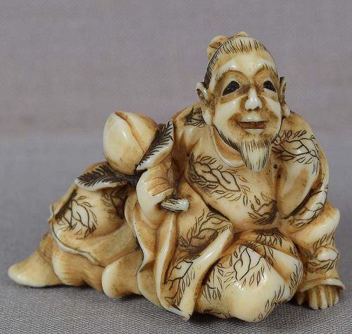 19c netsuke SENNIN TOBOSAKU with peach by ANRAKU