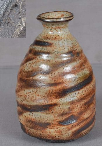 SAKE BOTTLE tokkuri SHINO glaze by Robert Fornell
