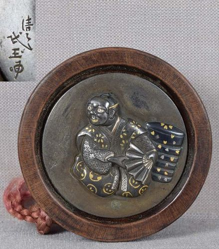 19c netsuke ACTOR with boxes by MINGYOKU