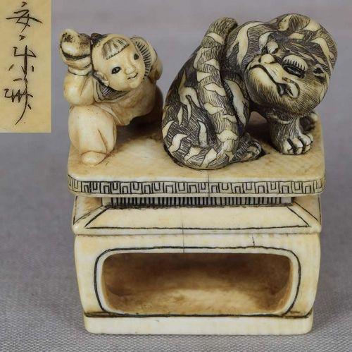 19c netsuke YOKO & TIGER by ANRAKUSAI