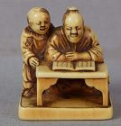Early 19c netsuke SCHOLAR & BOY reading a book