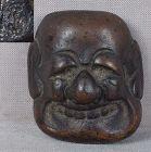 19c bronze netsuke mask BUAKU by SEKIZAN