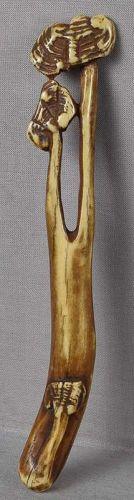 19c staghorn Asakusa sashi netsuke FUNGUS of IMMORTALITY