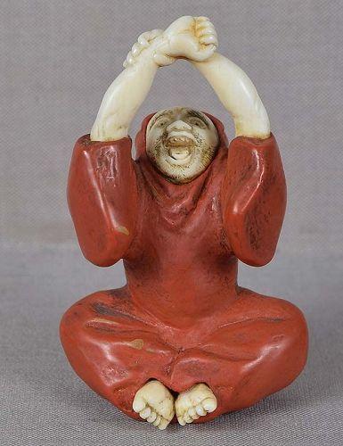 19c netsuke stretching DARUMA