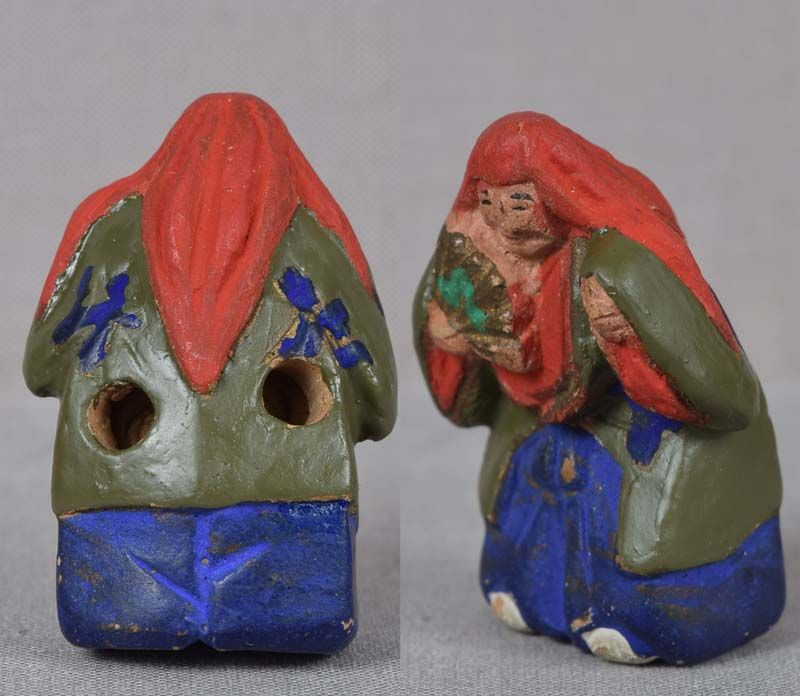19c ceramic netsuke ACTOR in SHOJO role