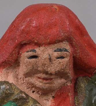 19c ceramic netsuke ACTOR in SHOJO role