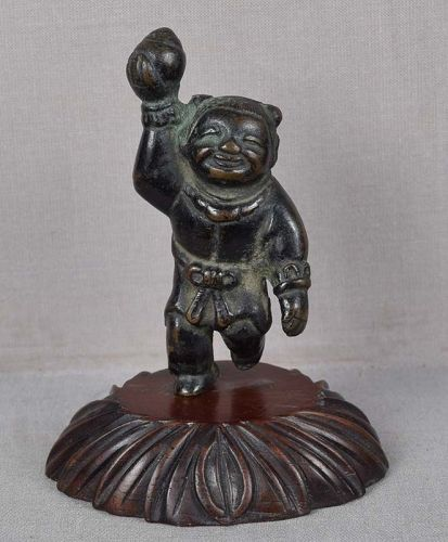 18c Chinese bronze sculpture BOY with Precious Gem