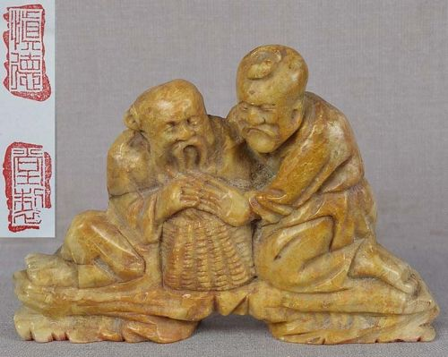 19c SOAPSTONE SEAL Chinese scholars