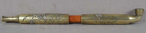 19c Japanese bronze & silver TOBACCO PIPE SHISHI with cubs