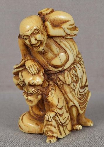 18c netsuke TWO SENNINS and TOAD