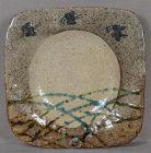 19c tea ceremony Mino plate MOON BIRDS GRASS