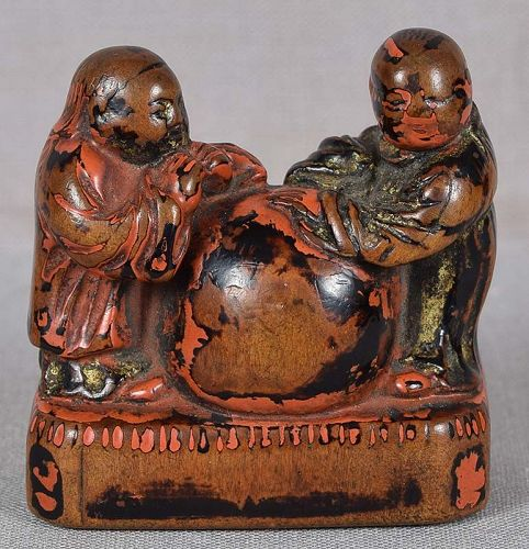 Early 19c Negoro lacquer netsuke CHINESE SCHOLARS