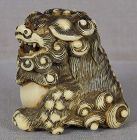 18c Kyoto school netsuke SHISHI with ball