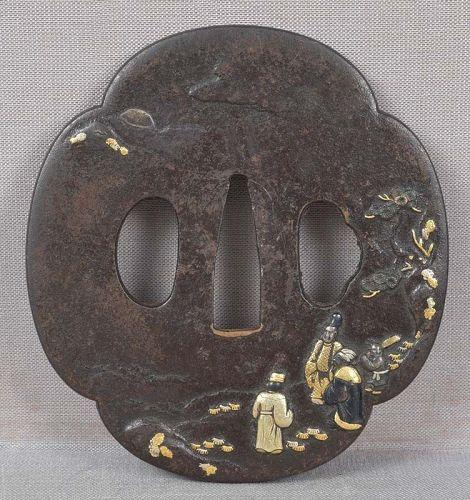 18c Japanese sword TSUBA SCHOLARS VIEWING MOON