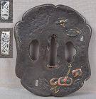 18c Japanese sword TSUBA cherries mushrooms by KYUKAZU / JIKU