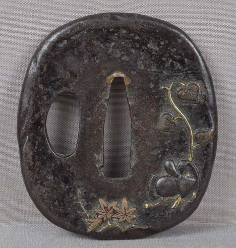 18c Japanese sword TSUBA COURT HAT riding crop water lily
