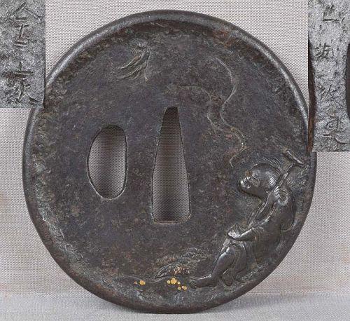 18c Japanese sword tsuba TEKKAI SENNIN signed