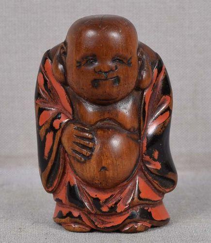 Early 19c Negoro netsuke HOTEI Buddha of the future