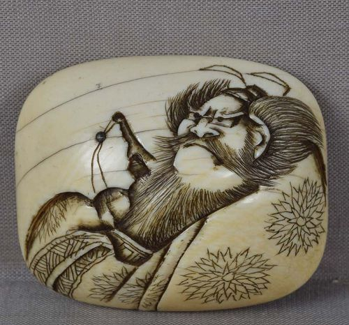 19c manju netsuke Shoki the Demon Queller ex Kirchhoff Collection