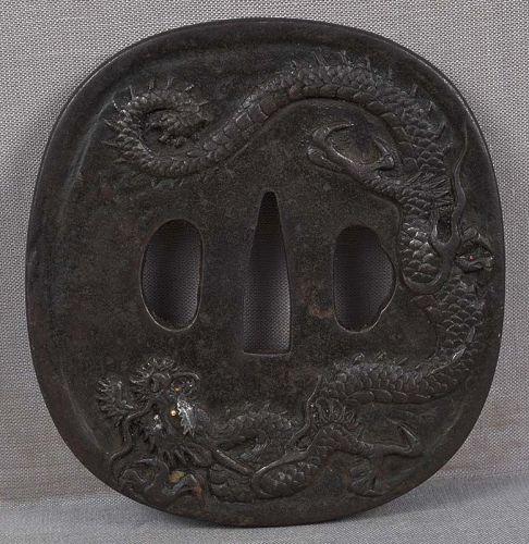 18c Japanese sword TSUBA DRAGONS