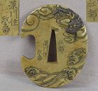 19c sentoku Japanese sword TSUBA DRAGON in clouds by KOTO