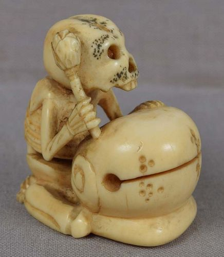19c marine netsuke Priest DANKA SKELETON with gong & lotus