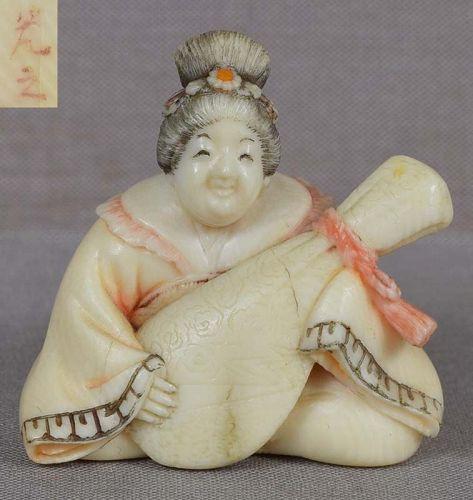 19c netsuke GEISHA with biwa by MITSUYUKI