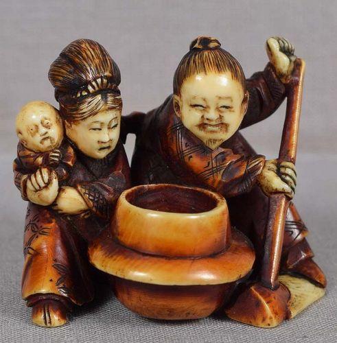 19c netsuke KAKKYO & pot of gold Anraku school ex MANG
