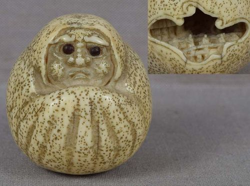 19c netsuke DARUMA doll with landscape inside