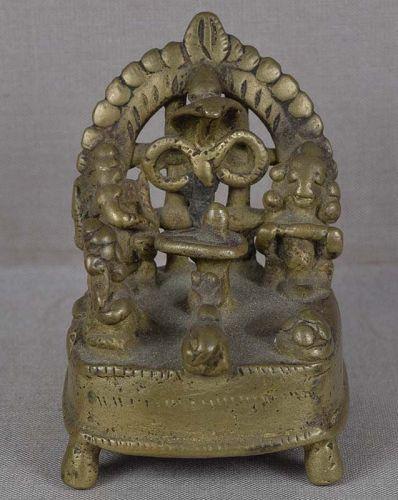 18c Indian bronze SHIVA SHRINE Parvati Ganesha Nandi Naga