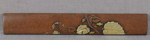 19c Japanese sword KOZUKA morning glory with leaves