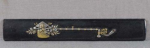 19c Japanese sword KOZUKA ritual ladle & flowers