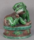 19c Chinese porcelain sculpture MYTHICAL BEAST scratching