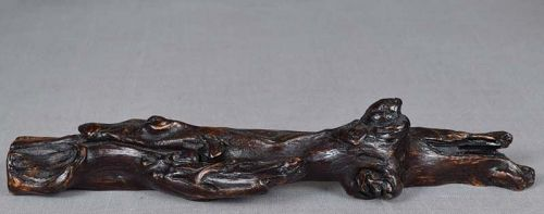 19c Chinese scholar wooden BRUSH REST swirling clouds