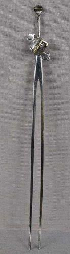 19c Japanese silver KANZASHI hair pin MALLET $ SACRED KEY