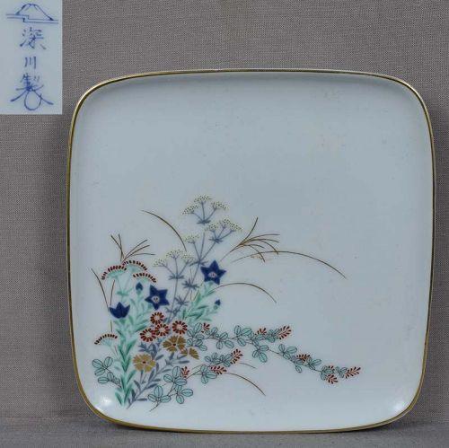 Japanese porcelain Fukagawa plate FLOWERING MEADOW