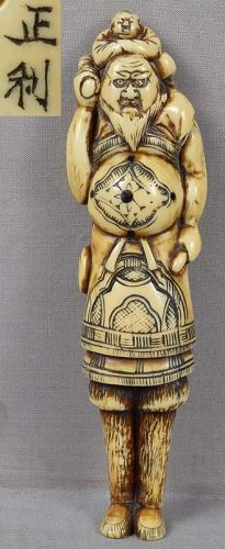 Early 19c netsuke FOREIGNER & karako by MASATOSHI 14.3 cm