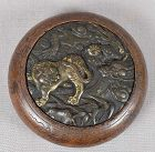 19c netsuke mixed metal DRAGON & TIGER
