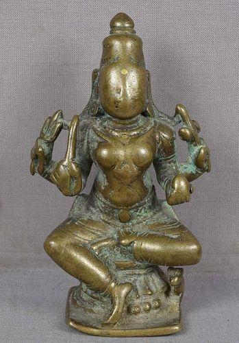 18c Indian bronze GODDESS DURGA with camel