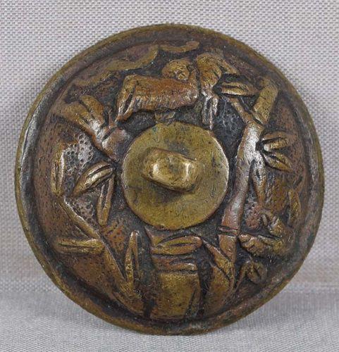 18c bronze suigaraake netsuke BIRDS & BAMBOO