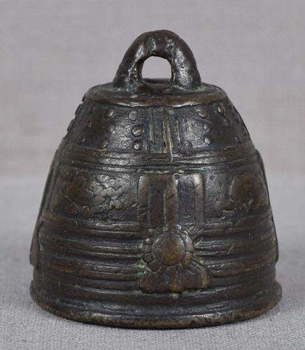 Early 19c bronze netsuke TEMPLE BELL of Miidera