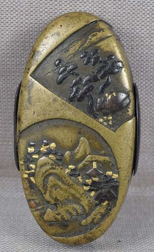 19c Japanese sword fitting KASHIRA scholarly landscapes