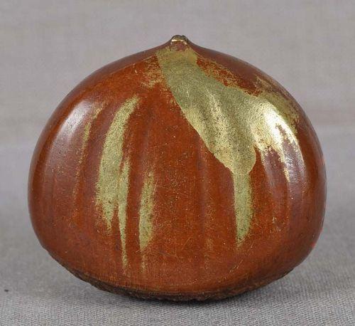 19c Japanese bronze SCROLL WEIGHT CHESTNUT