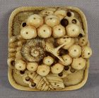 19c marine Asakusa netsuke SNAIL on GRAPES