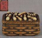 19c netsuke BASKET with VEGETABLES by RYUSHO