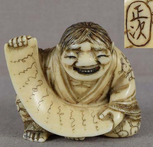 19c netsuke ZEN POET KANZAN by MASATSUGU ex Mittleman collection