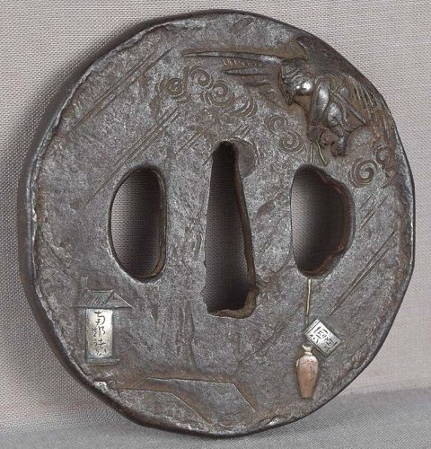 18c Japanese sword TSUBA TENGU in flight